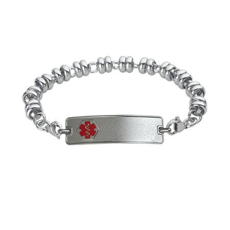Divoti Custom Engraved Classic Medical Alert Bracelet -Wrapped Link Stainless - Custom Ink Bracelets