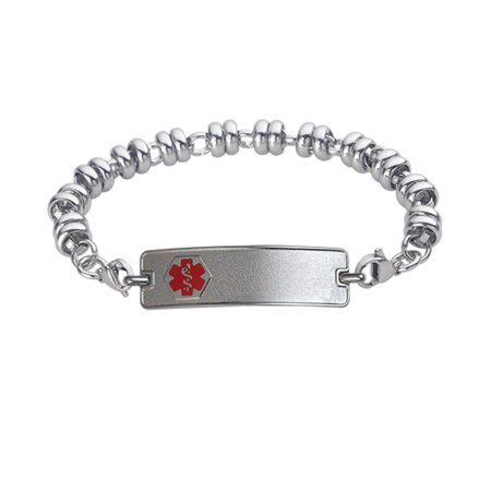 Divoti Custom Engraved Classic Medical Alert Bracelet -Wrapped Link Stainless