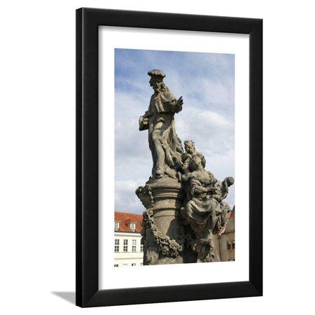 Italian Baroque Sculpture - Saint Ivo of Kermartin, T.O.S.F. (1253-1303). Baroque Sculpture by Matyas Bernard Braun on Behalf… Framed Print Wall Art