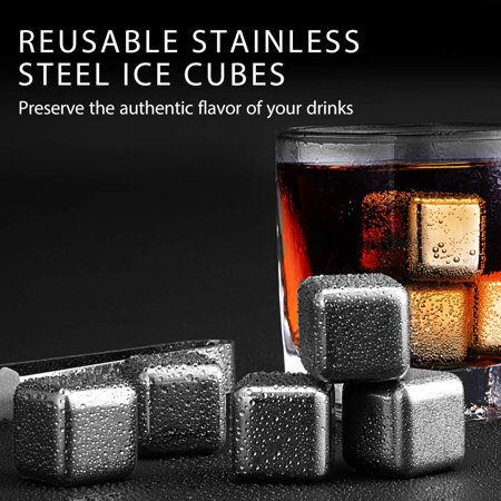 VIVOHOME Set of 6 Stainless Steel Reusable Wine Ice Cubes, Wine Beer Wort Chiller, Whiskey Chilling Rocks](Shot Chiller)