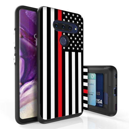 LG V40 ThinQ Case, PimpCase Slim Wallet Case + Dual Layer Card Holder For LG V40 ThinQ (Released 2018) Thin Red Line US Flag](Flag Holder Case)