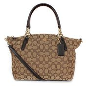 coach signature small kelsey satchel shoulder bag handbag, khaki, brown by