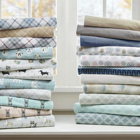 Comfort Classics Cozy Flannel Cotton Sheet Set, Tan Plaid, Twin Tan Flannel Sheet Set