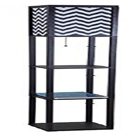 sh lighting 6958bk b wooden shelf floor lamp with zig zag shade panels black. Black Bedroom Furniture Sets. Home Design Ideas