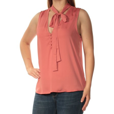 L'ACADEMIE Womens Pink Sleeveless Tie Neck Top  Size: M