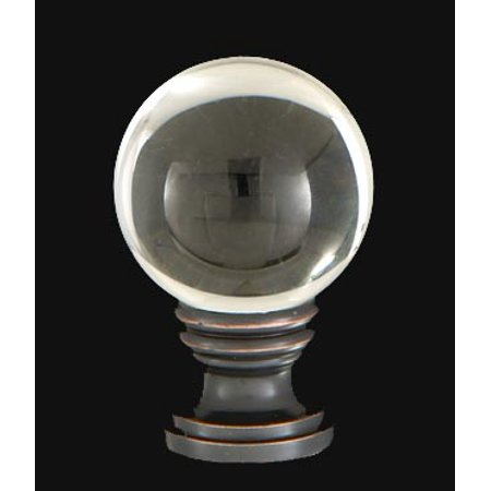 B&P Lamp® Smooth Crystal Design, 30mm Ball Finial, Solid Brass Oiled Bronze Brass Base
