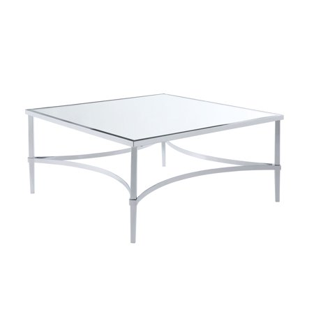 Acme Petunia Square Coffee Table In Chrome And Mirrored