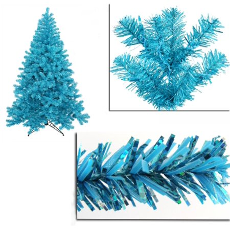 4 Pre Lit Sky Blue Full Artifical Sparkling Tinsel Christmas Tree Teal Lights