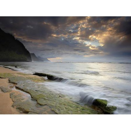 Kee Beach on Kauai's North Shore Is a Popular Place to Watch the Sunset, Hawaii, USA Print Wall Art By Patrick Smith (Halloween Sunset Place)