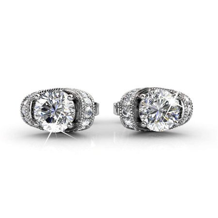 Cate & Chloe Astrid 18k White Gold Earrings w/ Swarovski Crystals, Halo Stud Earring Post Set, Round Cut Solitaire Earrings for Women, Anniversary Earrings, - MSRP $128