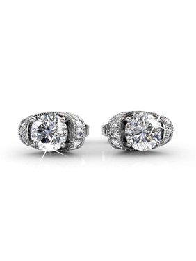 d0463a627 Product Image Cate & Chloe Astrid 18k White Gold Earrings w/ Swarovski  Crystals, Halo Stud Earring