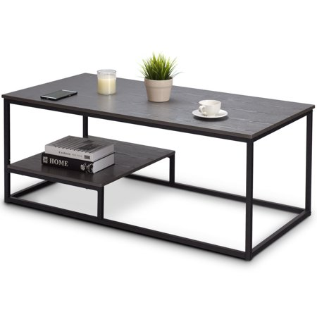 - Gymax 2-Tier Coffee Cocktail Accent End Table Sofa Side Living Room Furniture W/shelf