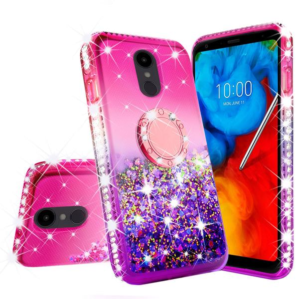 Liquid Quicksand Glitter Cute Phone Case for LG Stylo 5 \/ Stylo 5 Plus Case with Ring Socket