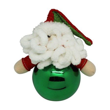Green Seasons Greetings Knit Santa Claus Christmas Tree Ball Ornament