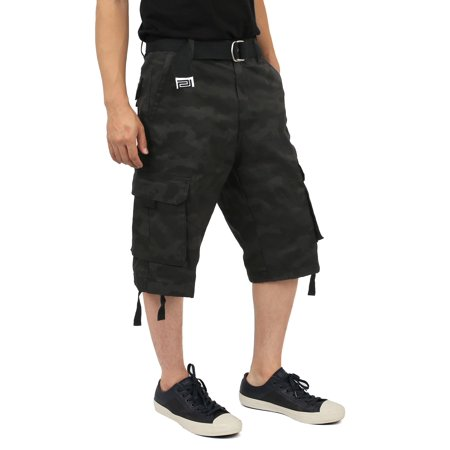 - Pro Club Mens Cotton Twill Cargo Short Pants with Belt 30