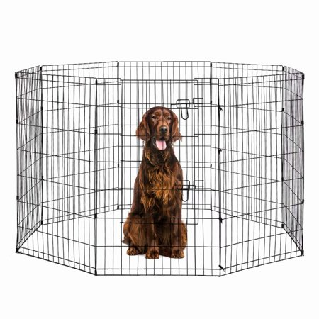 Dog Exercise Pen Pet Playpens for Dogs - Puppy Playpen Outdoor Back or Front Yard Fence Cage Fencing Doggie Rabbit Cats Playpens Outside Fences with Door - Metal Wire 8-Panel Foldable