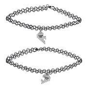 Lux Accessories Silver Tone Player 1 2 Gamer BFF Broken Heart Choker Set 2 PC