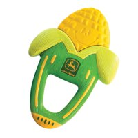 John Deere Massaging Corn Teether, Vibrating and Soothing Baby Teething Toy, Green + Yellow