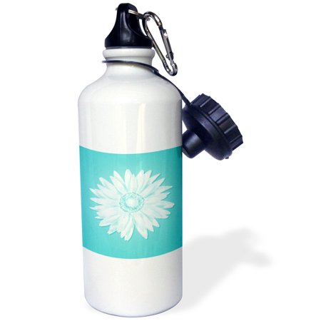 3Drose One Simple Pretty White Daisy On A Turquoise Background  Sports Water Bottle  21Oz