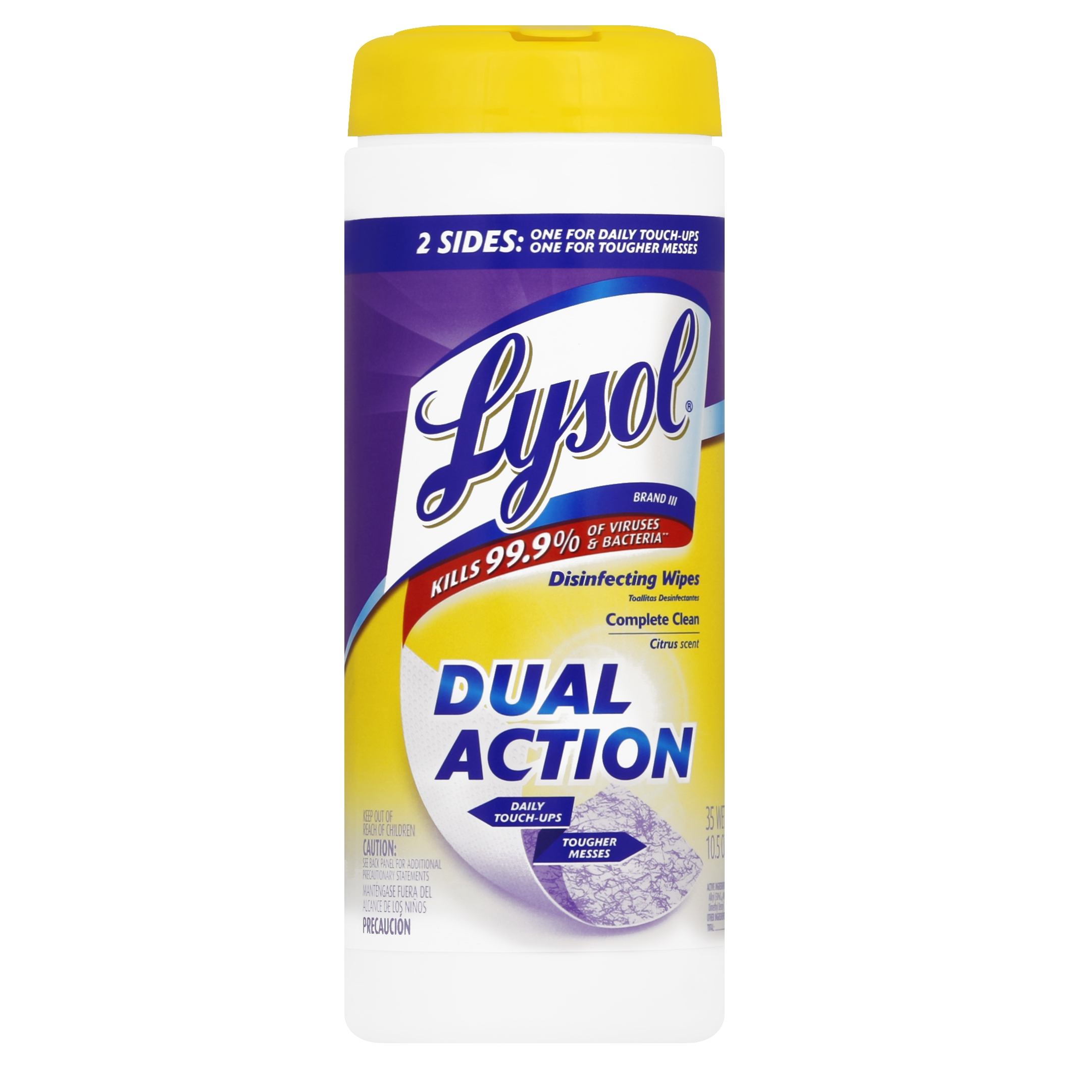 Lysol Dual Action Disinfecting Wipes, Citrus, 35 Count