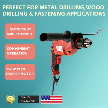 Corded Impact Drill for Wood Steel Concrete 750W