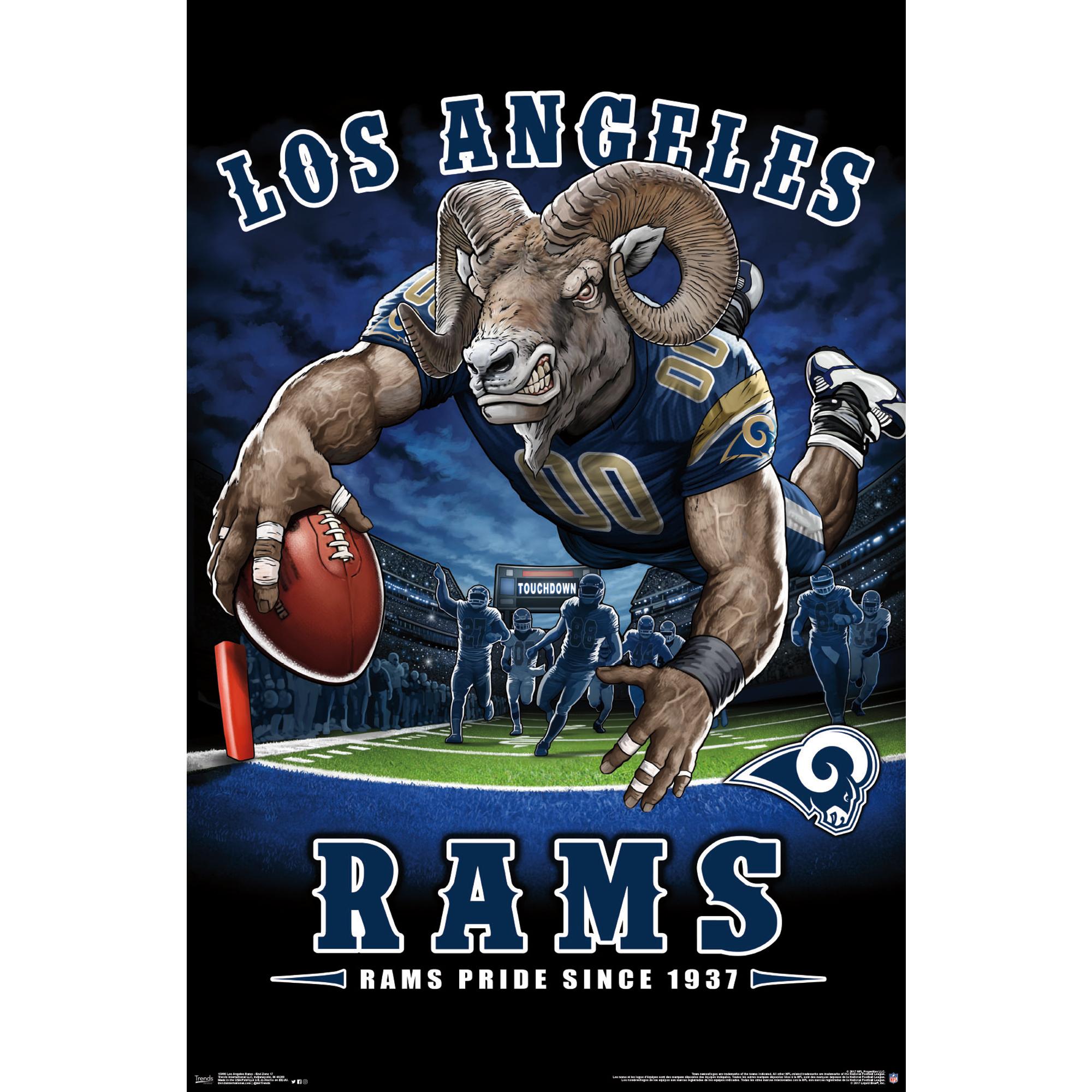 Los Angeles Rams Liquid Blue Designs 22'' x 34'' End Zone Poster - No Size