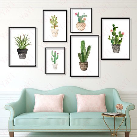 Watercolor Canvas Cactus Painting Print Picture Modern Home Wall Art Decoration Unframe