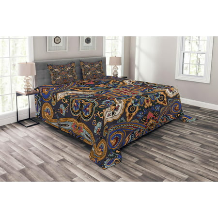 Paisley Bedspread Set, Historical Moroccan Florets with Slavic Effects Heritage Design, Decorative Quilted Coverlet Set with Pillow Shams Included, Royal Blue and Sand Brown, by Ambesonne ()