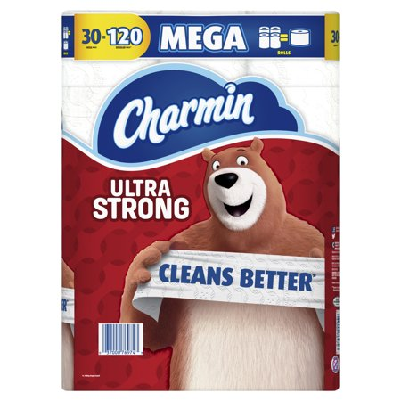 Charmin Ultra Strong Toilet Paper, 30 Mega Rolls (= 120 Regular (Best Toilet Paper For Your Money)