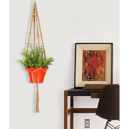Ashman Macrame Plant Hanger Made from Jute 4 Legs 48 Inch with Beads to Hang Large and Medium Round and Square Pots, Hand Crafted and Elegant Plant Hanger - Macrame Hangers