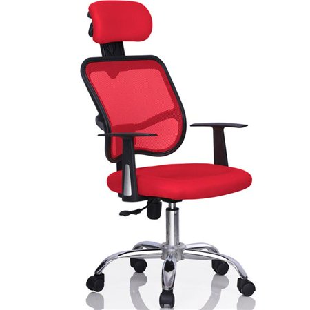 Fantastic Yaheetech Adjustable Executive Office Computer Desk Chair Mesh Chrome Red Ncnpc Chair Design For Home Ncnpcorg