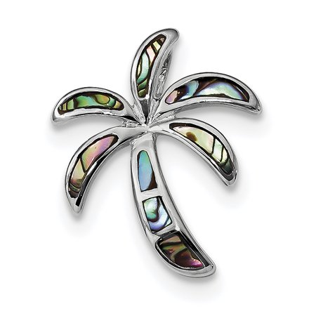 - 925 Sterling Silver Created Abalone Palm Tree Pendant Charm Necklace Slide Omega Sea Shore
