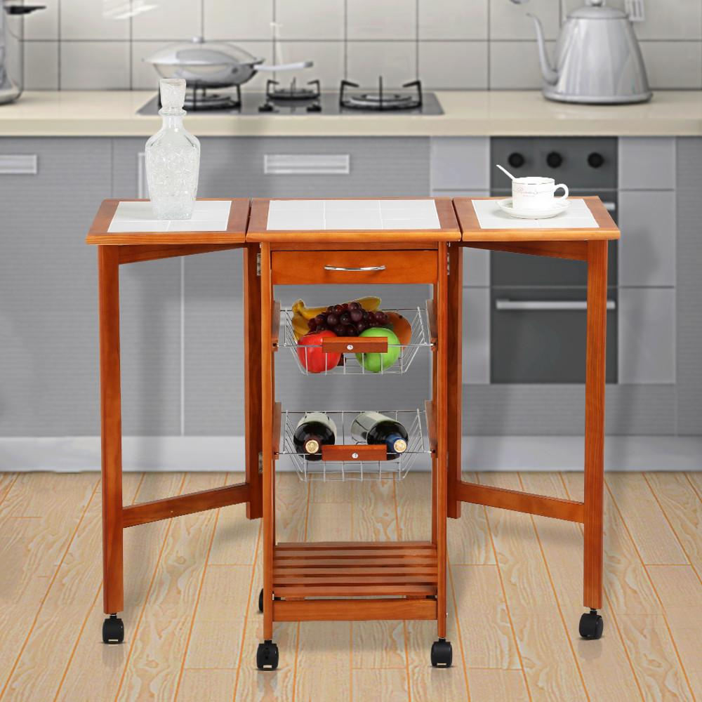 Yaheetech Portable Rolling Drop Leaf Kitchen Island White Tile Top Trolley  Table Cart With Drawers And