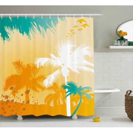 Tropical Shower Curtain Grunge Style Vibrant Palms Silhouette Paradise With Funky Retro Graphic Fabric