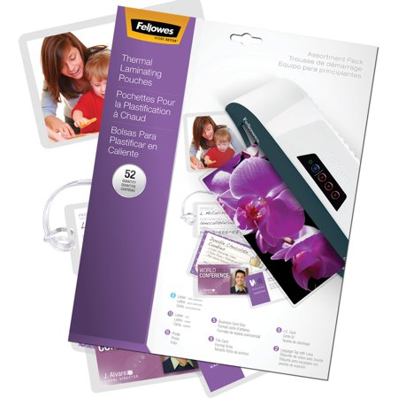 Fellowes, FEL5208401, Assorted Laminator Pouches, 52 / Pack,