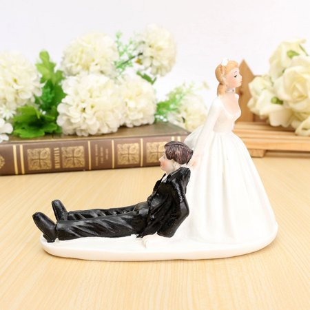 Wedding Cake Topper Couple Figurine Romantic Love Bride Groom Anniversary Decor Black Friday Big Sale - Brunette Bride Cake Topper