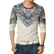 Azzuro Men's Round Neck Floral Prints Long Sleeves Casual T-Shirts (Size L / 42)