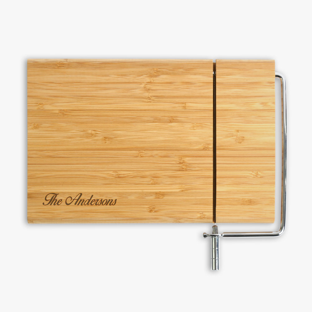 Personalized Bamboo Cutting Board with Cheese Cutter 12.5x12inches