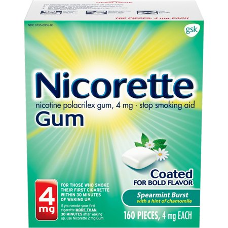 Nicorette Nicotine Gum to Quit Smoking, 4 mg, Spearmint Flavored Stop Smoking Aid, 160 Count Quit Smoking Gum