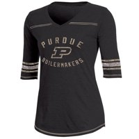 Women's Russell Athletic Black Purdue Boilermakers Fan Half-Sleeve V-Neck T-Shirt