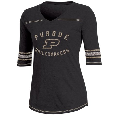 - Women's Russell Black Purdue Boilermakers Fan Half-Sleeve V-Neck T-Shirt