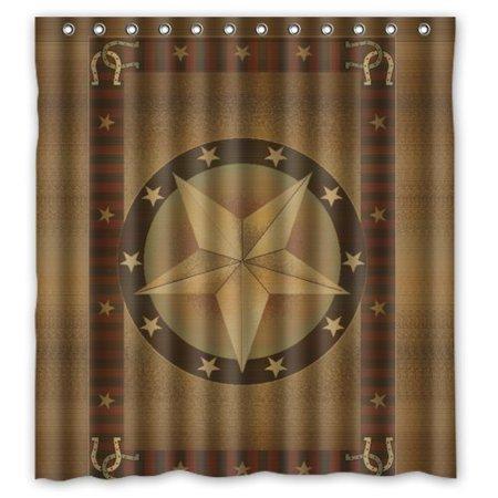 DEYOU Western Texas Star Shower Curtain Polyester Fabric Bathroom Size 66x72 Inches