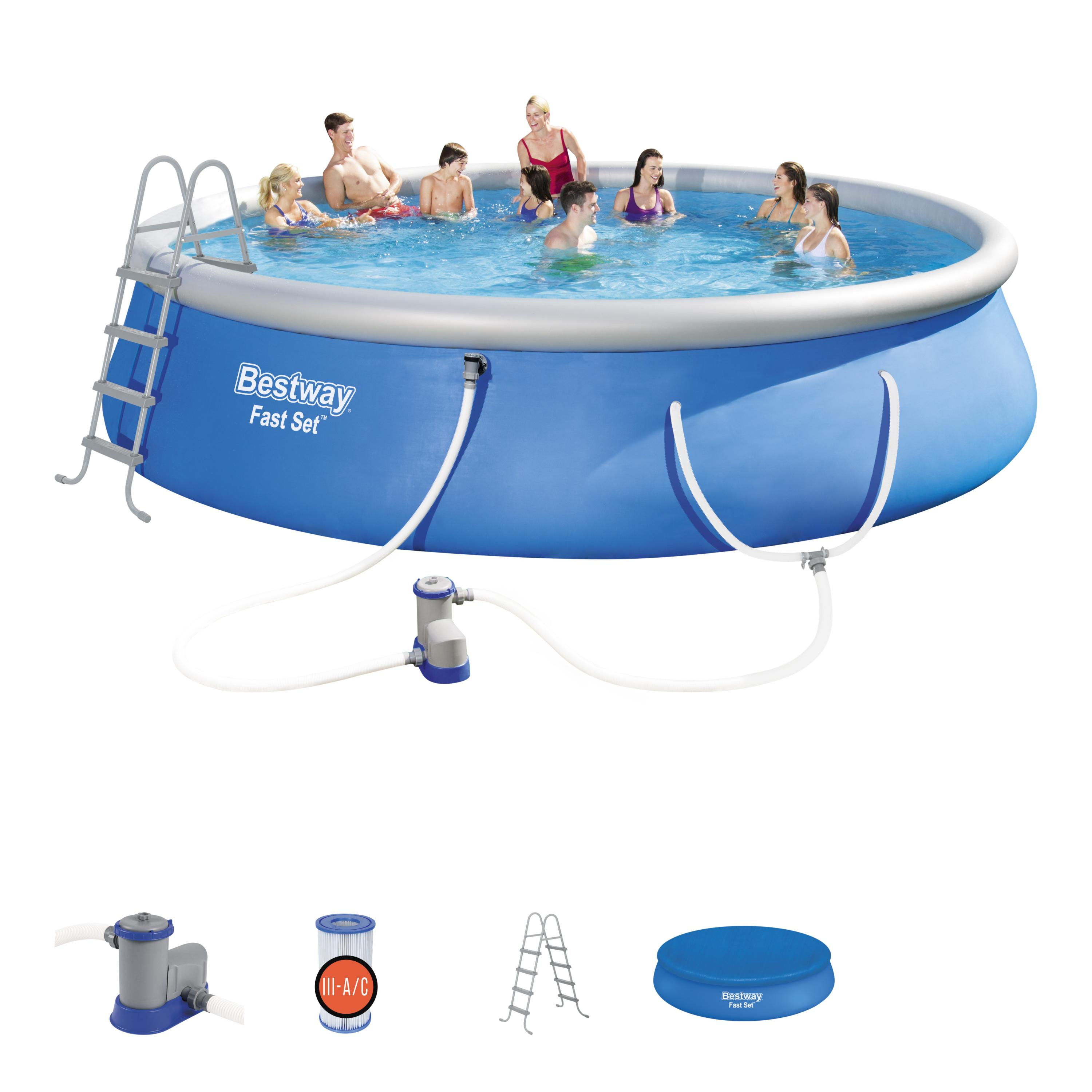 Bestway Fast Set 18 X 48 Round Swimming Pool Set With Pump Ladder And Cover Walmart Com Walmart Com