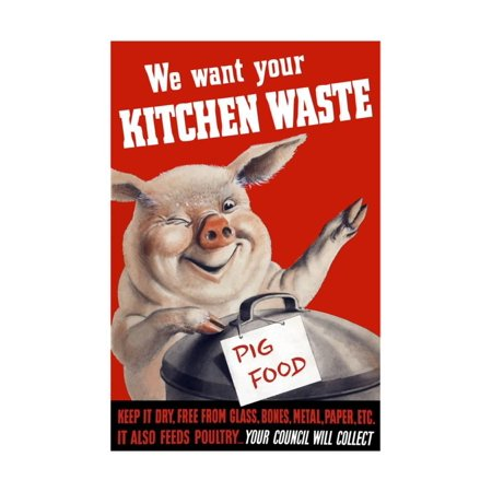 Vintage World Ware II Poster Featuring a Pig Standing with a Garbage Can Print Wall Art By Stocktrek Images