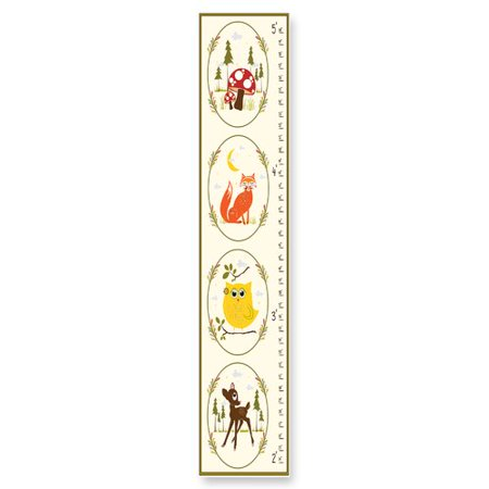 Stupell Industries The Kids Room Deer, Owl, Fox Woodland Growth Chart