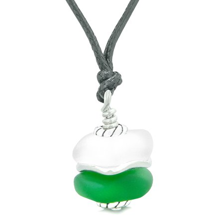 - Sea Glass Icy Frosted Waves Double Lucky Green White Positive Energy Amulet Pendant Adjustable Necklace