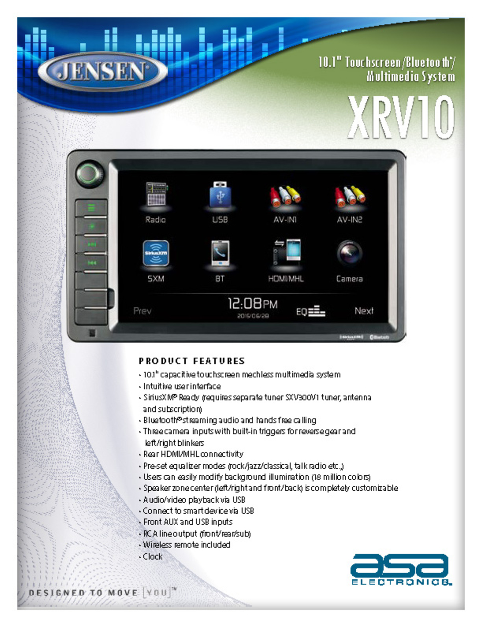 iPod Jensen XRV10 Double DIN 10.1 Touchscreen Bluetooth Multimedia Receiver /& Back-Up Observation System System AV In ASA Electronics HDMI SiriusXM Ready MHL iPhone USB Built-In BT Technology