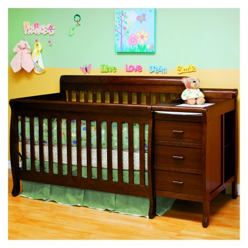 Athena Kimberly 3-in-1 Convertible Crib and Changer Combo, Espresso