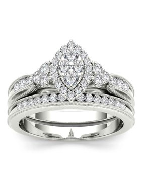 1/2Ct TW Diamond S925 Silver Marquise Cluster Halo Bridal Set
