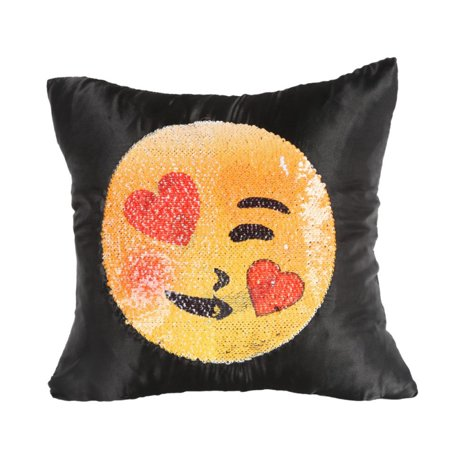 Emoji Sequin Pillow Case,Double Sided Reversible Mermaid Sequins Cushion Covers, Magic Presents Decorative Pillow Cover for Sofa Room